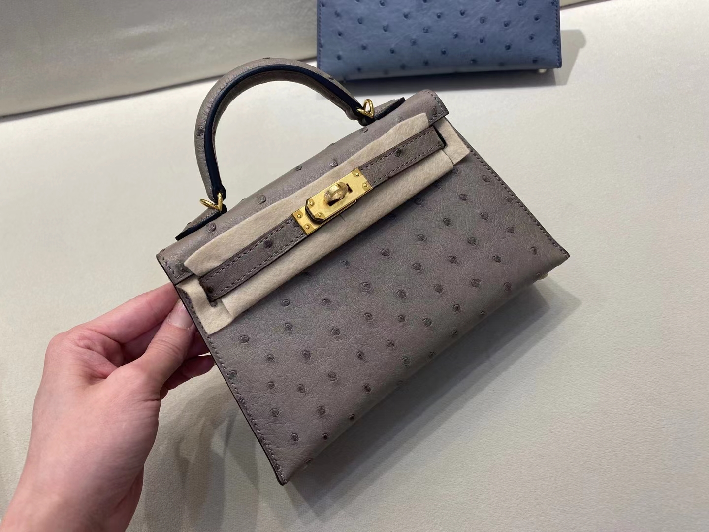 Hermès(爱马仕)miniKelly 迷你凯莉 二代 鸵鸟皮 老鼠灰 金扣