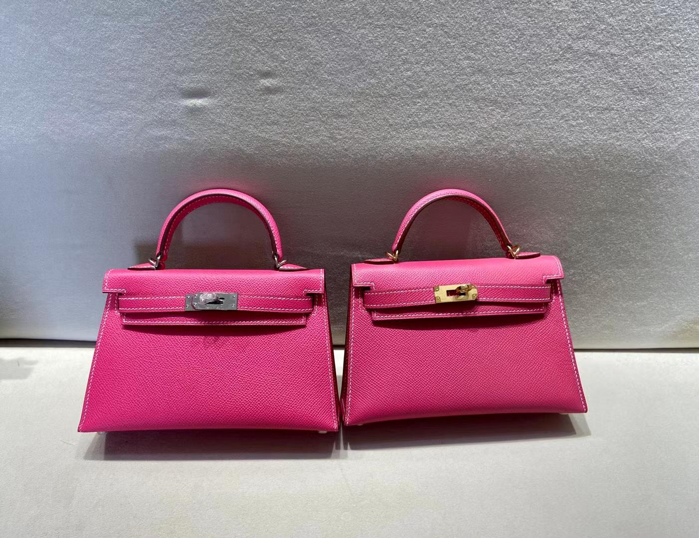 Hermès(爱马仕)miniKelly 二代 epsom 糖果粉 银扣 顶级品质 现货
