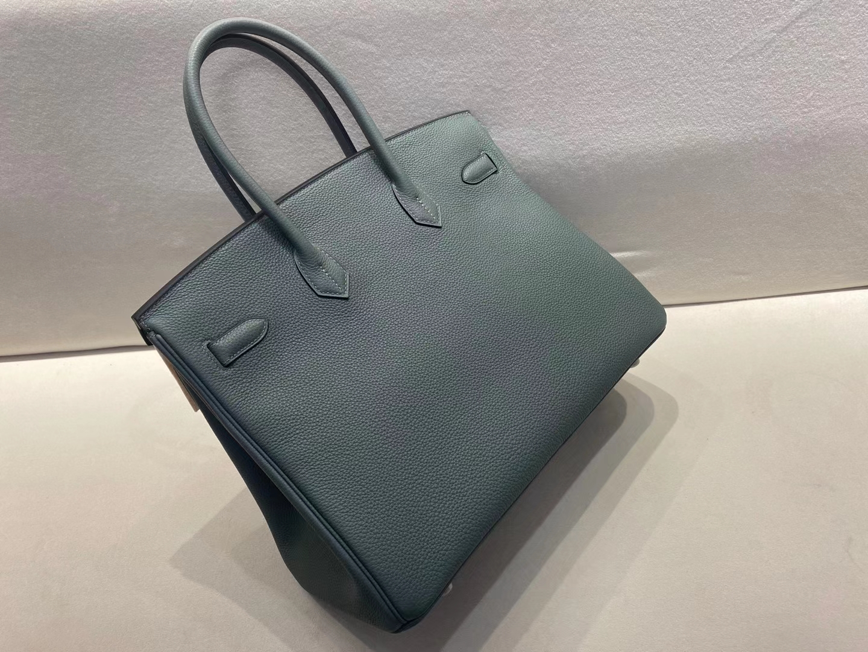 Hermès(爱马仕)Birkin 铂金包 法国togo 杏仁绿 顶级纯手工 现货 银扣 35cm
