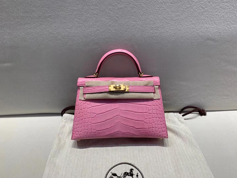 Hermès(爱马仕)miniKelly 迷你凯莉 二代 金扣 鳄鱼雾面美洲 樱花粉 顶级纯手工 现货