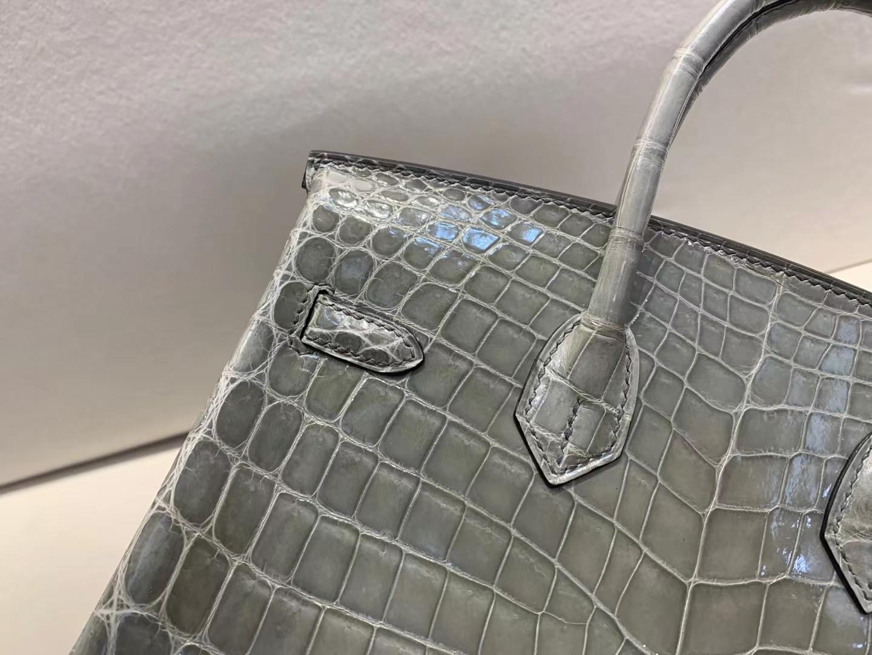 Hermès(爱马仕)birkin 铂金包 斑鸠灰ck81 亮面尼罗鳄 顶级纯手工 25cm 金扣