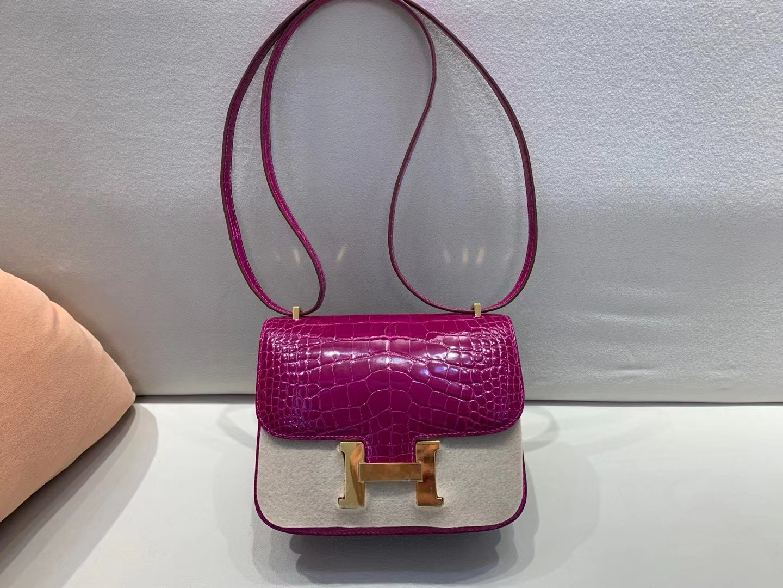 Hermès(爱马仕)Constance 空姐包 天方夜谭紫 美洲方块鳄鱼 顶级品质 19cm 金扣
