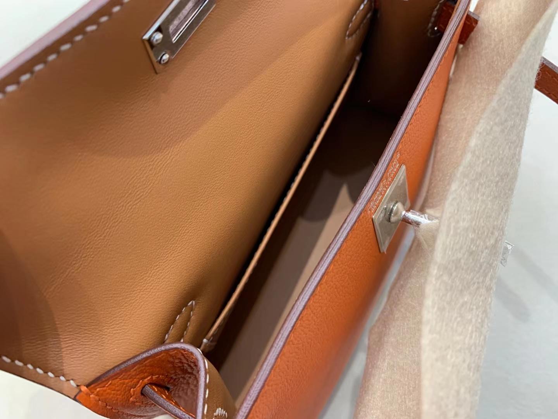Hermès(爱马仕)miniKelly 迷你凯莉 山羊皮 火焰橙 9j 拼金棕色 顶级纯手工 二代 银扣