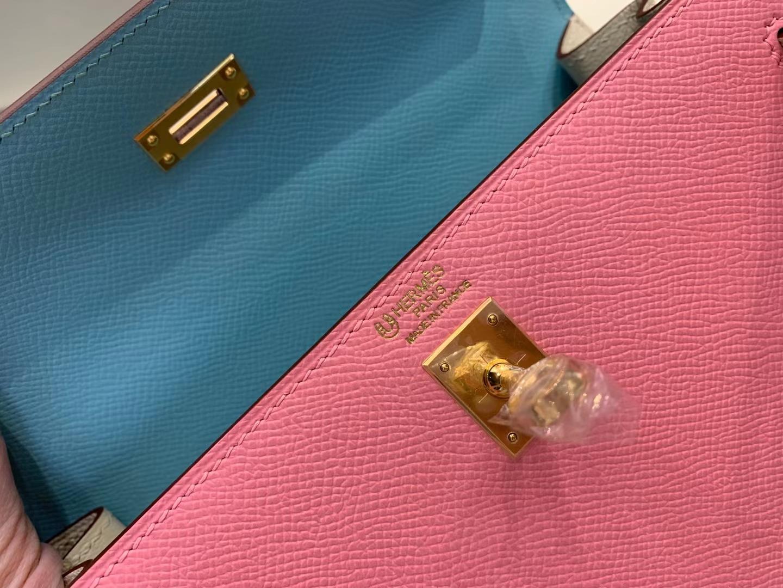 Hermès(爱马仕)新品 Kelly 凯莉包 epsom 3Q粉拼奶昔白拼 糖果蓝 顶级纯手工 金扣 25cm