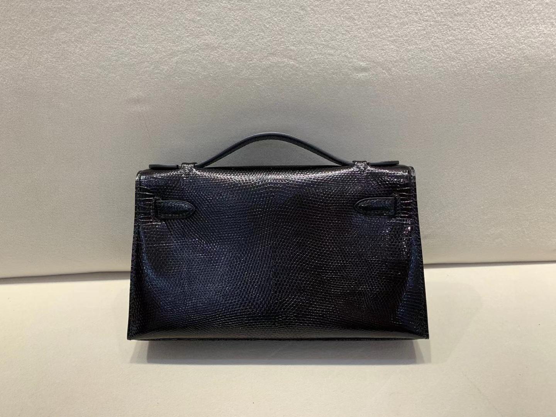 Hermès(爱马仕)miniKelly pochette 22cm 一代 银扣 蜥蜴 黑色 顶级纯手工 现货