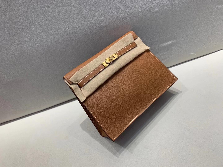 Hermès(爱马仕)Kelly dance 跳舞包 evercolor ck37 金棕色 顶级纯手工 现货 22cm 金扣