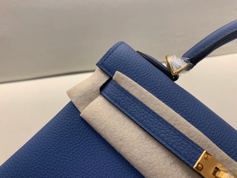 Hermès(爱马仕)Kelly 凯莉包 法国togo R2 玛瑙蓝 顶级品质 25cm 金扣
