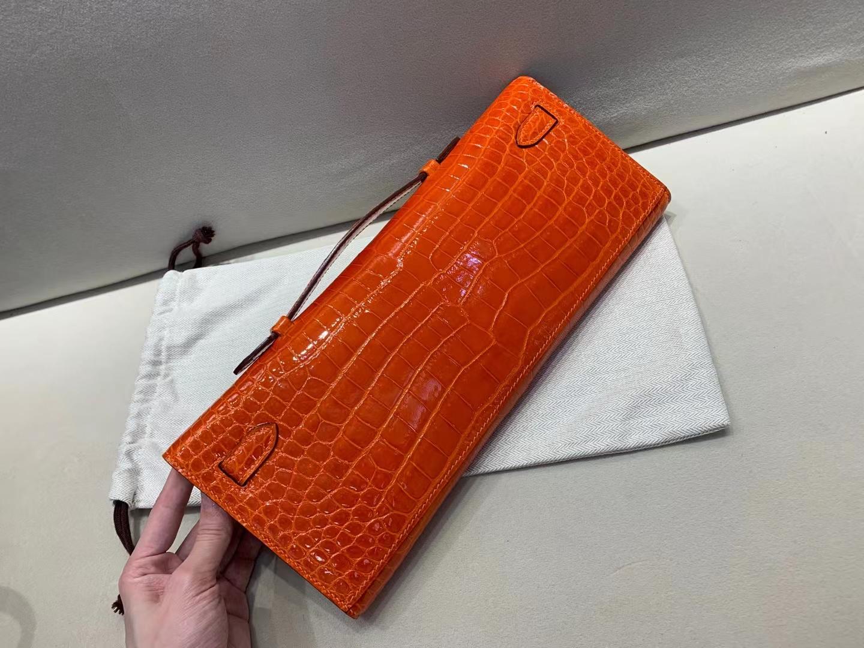 Hermès(爱马仕)Kelly cut 钱夹 手包 野生倒V鳄鱼皮 9i 橙色 顶级品质 31cm 银扣
