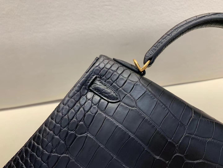 Hermès(爱马仕)Kelly 凯莉包 雾面稀有鳄鱼 ck89黑色 百搭黑 25cm 金扣 顶级工艺 完美品相