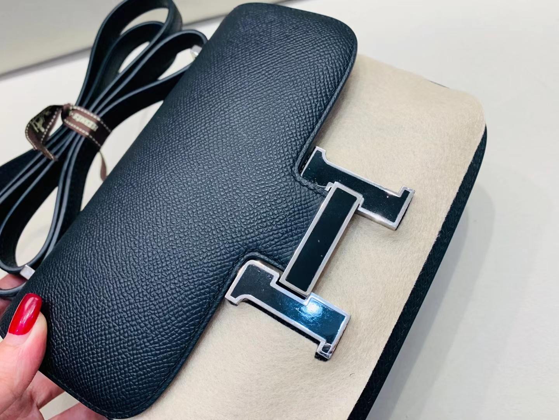 Hermès(爱马仕)constance 空姐包 珐琅扣 epsom 黑色 19cm 顶级纯手工