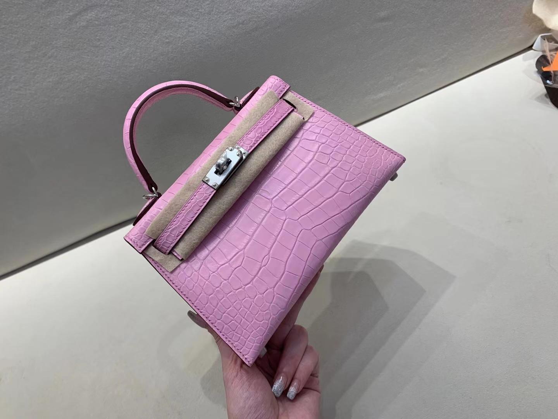 Hermès(爱马仕)miniKelly 迷你凯莉 雾面鳄鱼 樱花粉 5P 顶级品质 二代 银扣