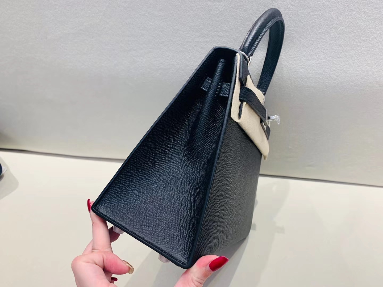 Hermès(爱马仕)kelly 凯莉包 银扣 epsom 黑色 25cm 顶级纯手工