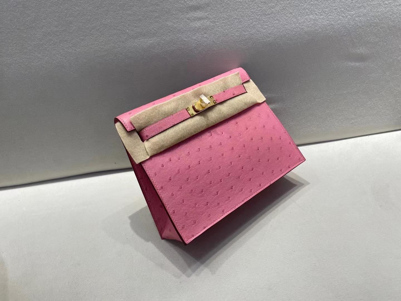 Hermès(爱马仕)Kelly dense 鸵鸟皮 L4 泡泡糖粉 22cm 金扣 顶级纯手工 现货