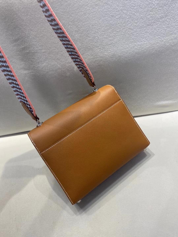 Hermès(爱马仕) Verrou 机枪包 布肩带 epsom ck37  金棕色 17cm