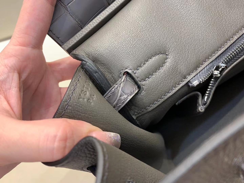 Hermès(爱马仕)birkin touch 雾面鳄鱼+togo 石墨灰 顶级品质 银扣 25cm