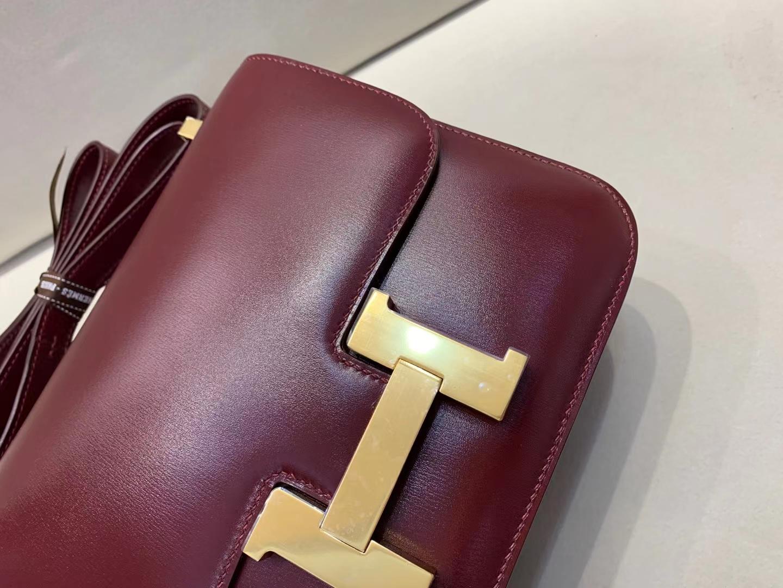 Hermès(爱马仕)Constance 空姐包 金扣 box 爱马仕红 24cm 顶级纯手工