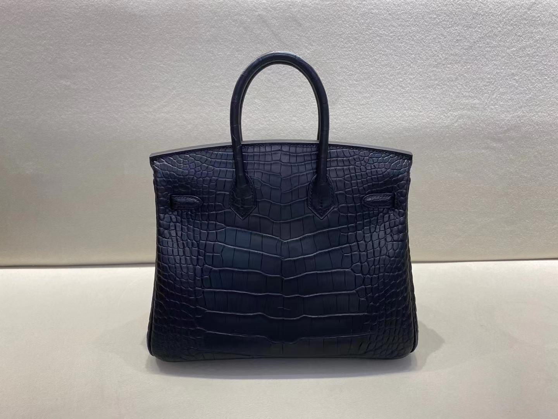 Hermès(爱马仕)birkin 铂金包 雾面鳄鱼 黑色 美洲方块皮 顶级品质 银扣 25cm