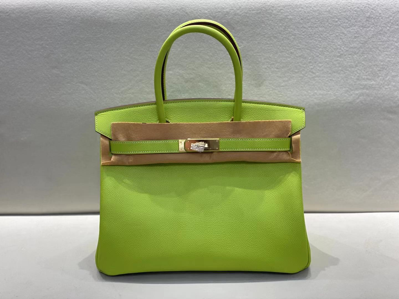 Hermès(爱马仕)birkin 铂金包 epsom 奇异果绿 顶级纯手工 金扣 30cm