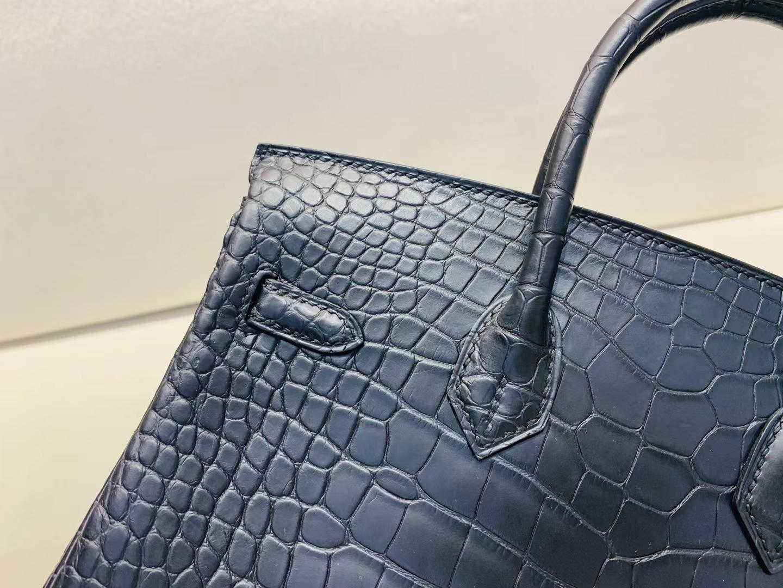 Hermès(爱马仕)Birkin 铂金包 雾面稀有鳄鱼 ck89黑色 百搭黑 25cm 金扣 顶级工艺 完美品相