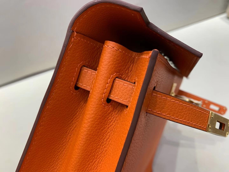 Hermès(爱马仕)Kelly dance 罂粟橙 evercololr皮 22cm 金扣 顶级纯手工