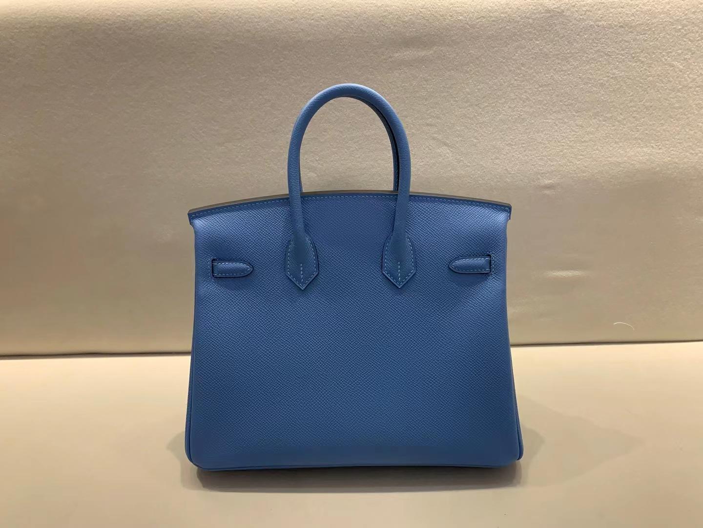 Hermès(爱马仕)birkin 铂金包 7N 糖果蓝 epsom 皮 顶级纯手工 25cm 银扣