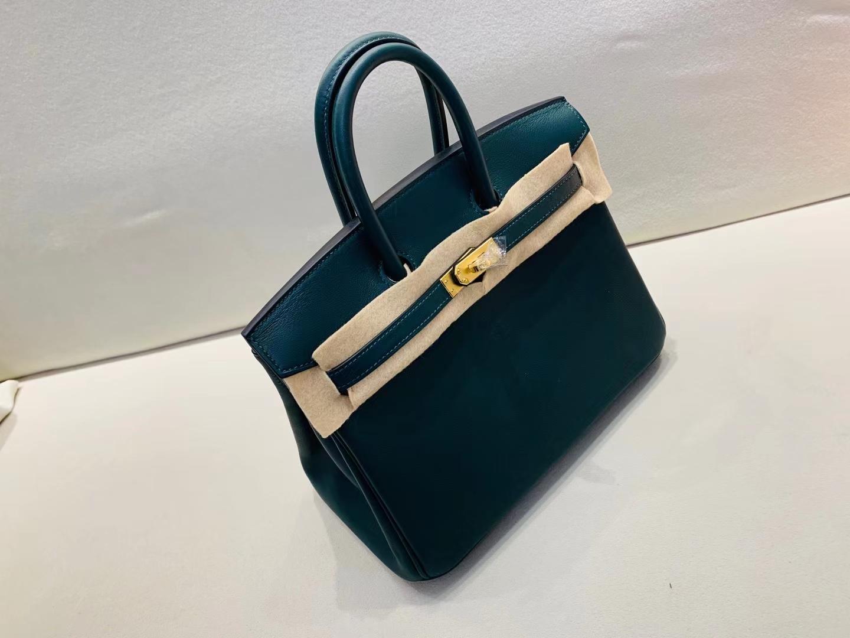 Hermès(爱马仕)birkin 铂金包 swift 6O 松柏绿 顶级纯手工 金扣 25cm 现货