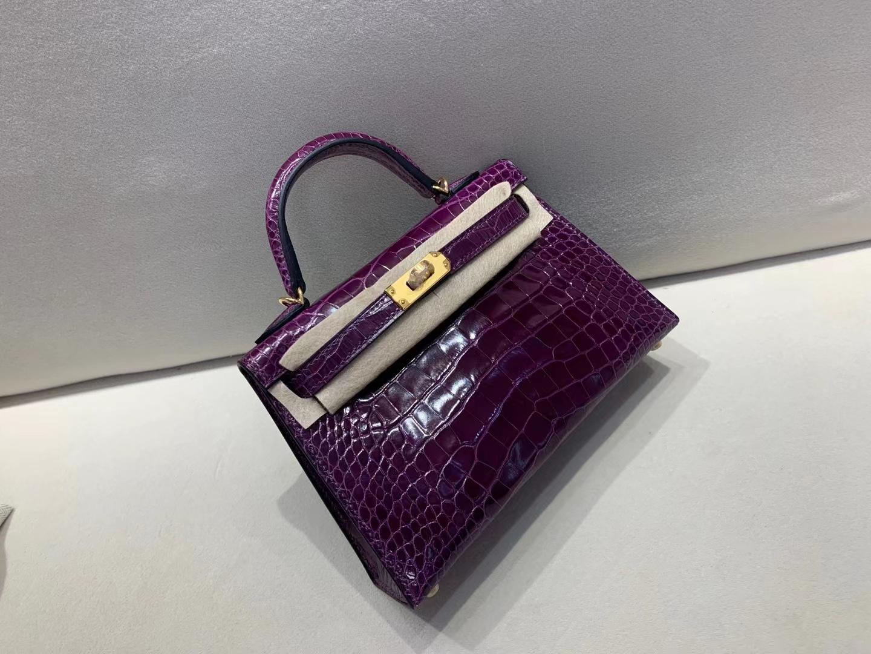 Hermès(爱马仕)mini Kelly 迷你凯莉 亮面鳄鱼 N5 黑加仑紫 二代 金扣 顶级品质