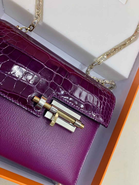 Hermès(爱马仕)Verrou Mini 手枪 插销包 金银渐变扣 N5 黑加仑葡萄紫美洲方块+山羊皮