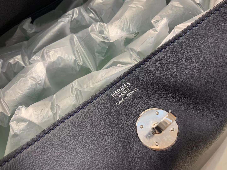 Hermès(爱马仕)Lindy 琳迪包 swift 靛蓝 顶级品质 30cm 银扣