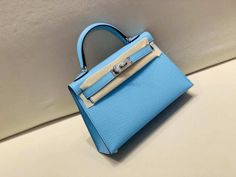 Hermès(爱马仕)mini kelly 迷你凯莉 山羊皮 chevre 糖果蓝 7N 二代 顶级纯手工