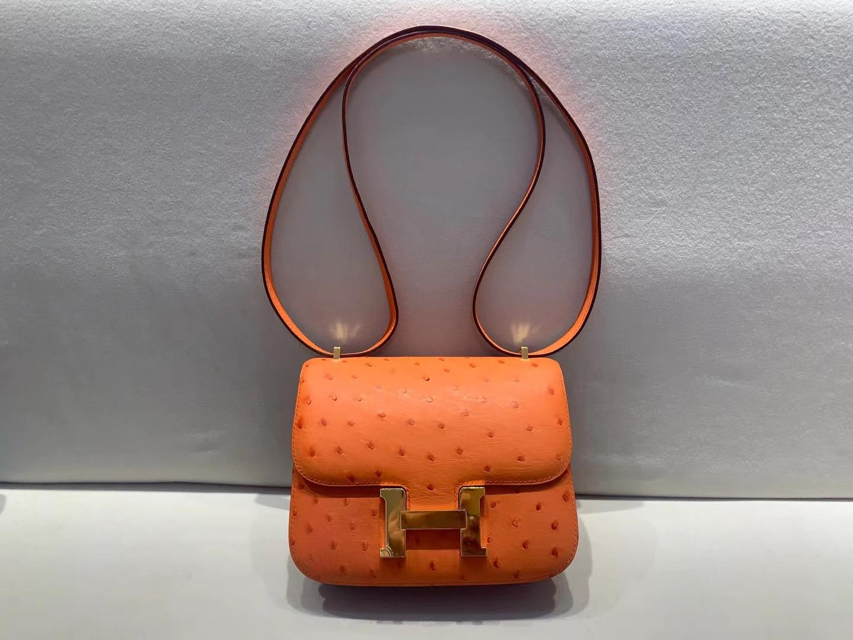 Hermès(爱马仕)constance 康斯坦斯 ck93 经典橙 kk鸵鸟 19cm 金扣 顶级纯手工