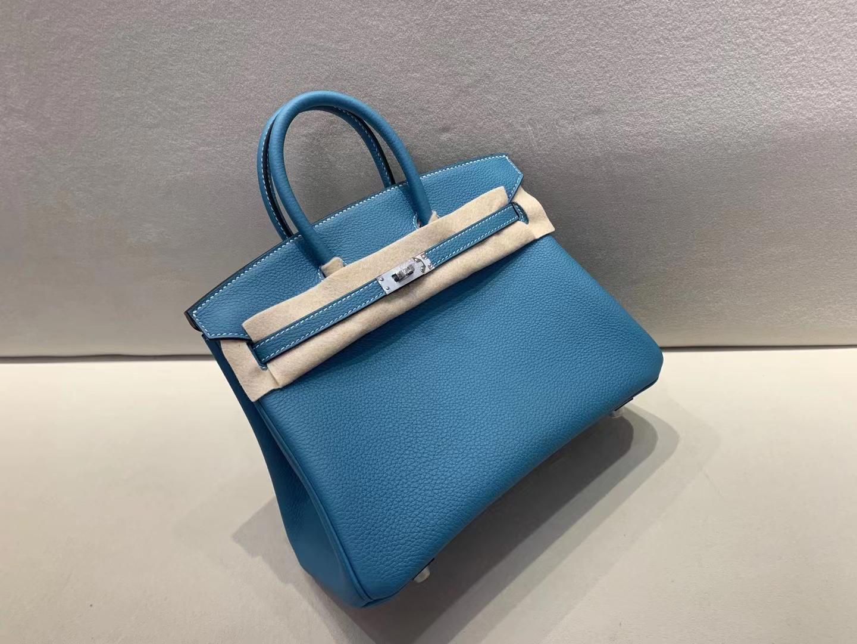 Hermès(爱马仕)birkin 铂金包 法国togo 牛仔蓝 ck75 银扣 25cm 顶级品质