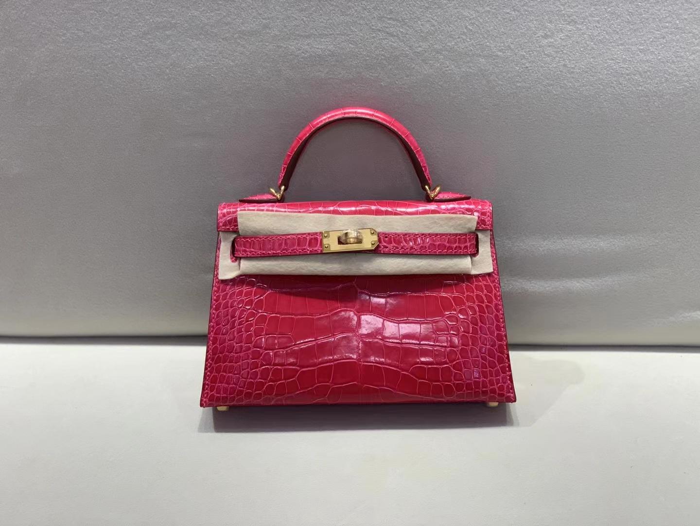 Hermès(爱马仕)miniKelly 迷你凯莉 6i 极致粉 美洲方块鳄鱼皮 二代 金扣 顶级纯手工 现货