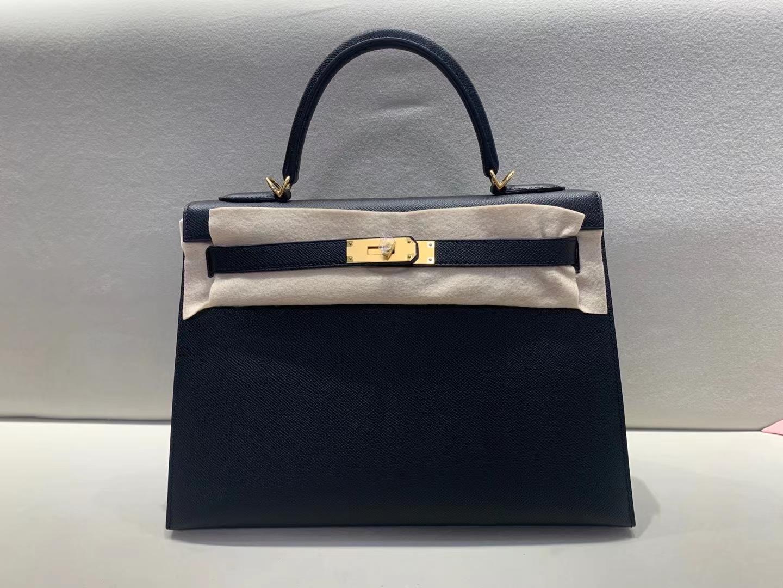 Hermès(爱马仕)Kelly 凯莉包 epsom 黑色 32cm 金扣 顶级纯手工品质 超大容量