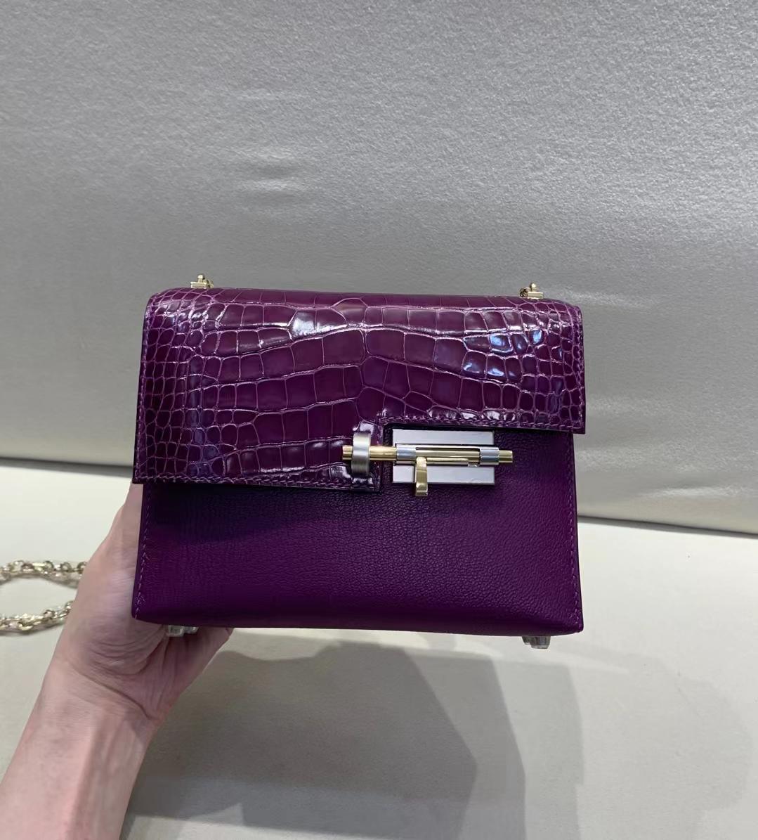 Hermès(爱马仕)Verrou Mini 手枪 插销包 金银渐变扣 N5 黑加仑葡萄紫 美洲方块+山羊皮