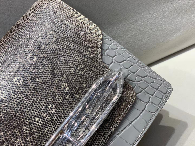 Hermès(爱马仕)Roulis 猪鼻子 珍珠灰 雾面鳄鱼拼蜥蜴 19cm 银扣 现货