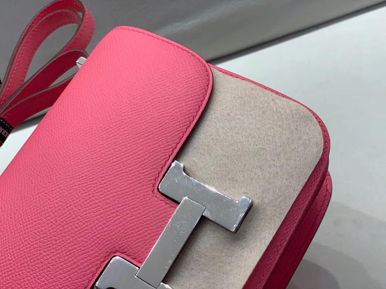 Hermès(爱马仕)Constance 空姐包 8W epsom 唇膏粉 19cm 银扣 顶级纯手工 现货