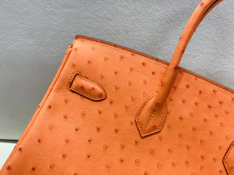 Hermès(爱马仕)Birkin 铂金包 kk鸵鸟 经典橙色 ck93 银扣 35cm 顶级纯手工