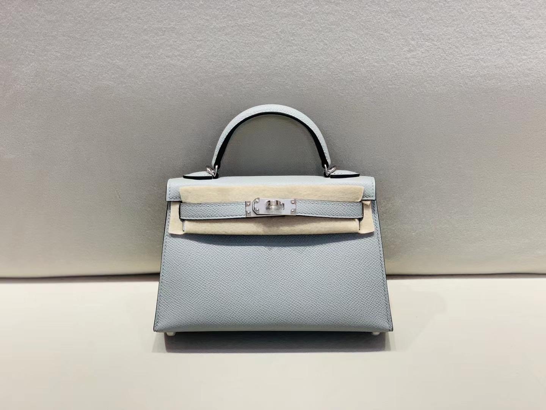 Hermès(爱马仕)miniKelly 迷你凯莉 epsom 冰川蓝 二代 银扣