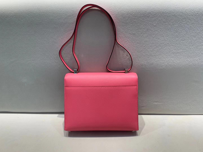 Hermès(爱马仕)Verrou 机枪包 Epsom 8w 唇膏粉 银扣 21cm 高端大气