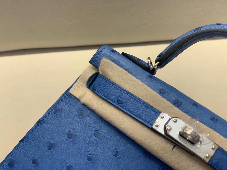 Hermès(爱马仕)miniKelly 迷你凯莉 鸵鸟皮 希腊蓝 7Q 二代 银扣 顶级品质 现货