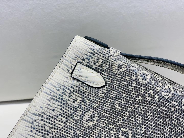 Hermès(爱马仕)miniKelly pochette 蜥蜴皮 雪花色 22cm 一代 银扣 顶级纯手工 现货