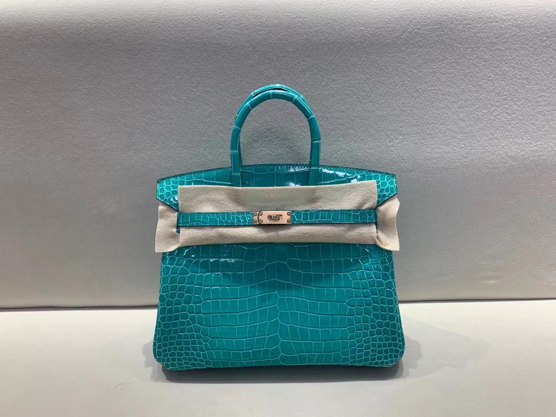 Hermès(爱马仕)birkin 铂金包 倒v亮面鳄鱼皮 o6 帝王绿 玫瑰金扣 25cm