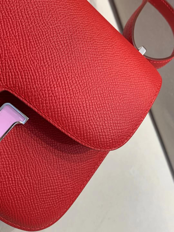 Hermès(爱马仕)Constance 空姐包 epsom S3心红 珐琅粉扣 19cm 顶级品质