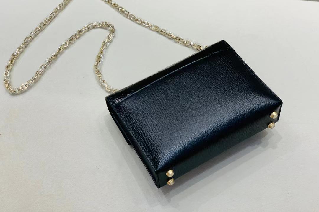 Hermès(爱马仕)Verrou Mini 手枪 插销包 亮面美洲方块+山羊皮 黑色 金银渐变扣 17cm