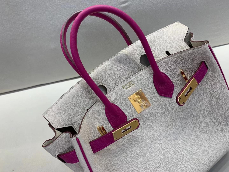 Hermès(爱马仕)Birkin 铂金包 法国togo 奶昔白 c10 拼 玫瑰紫 L3 金扣 30cm顶级品质