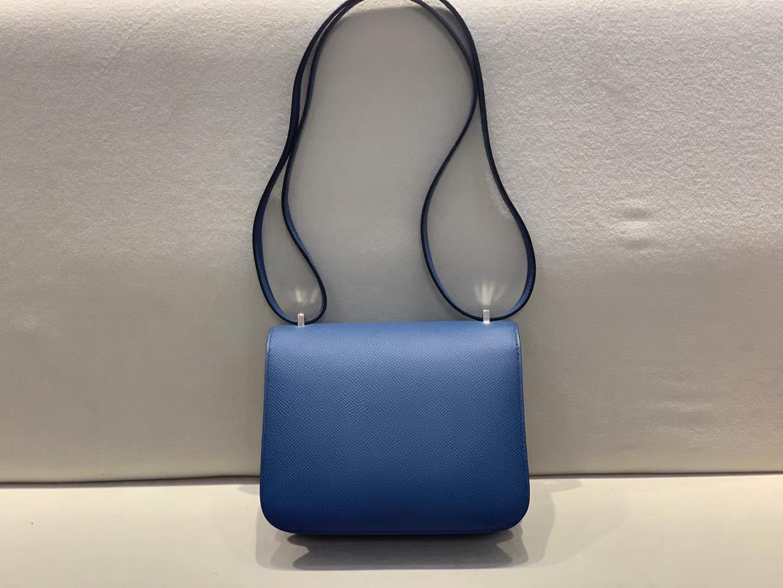 Hermès(爱马仕)Constance 空姐包 epsom S4 深邃蓝 19cm 珐琅扣 顶级纯手工 现货