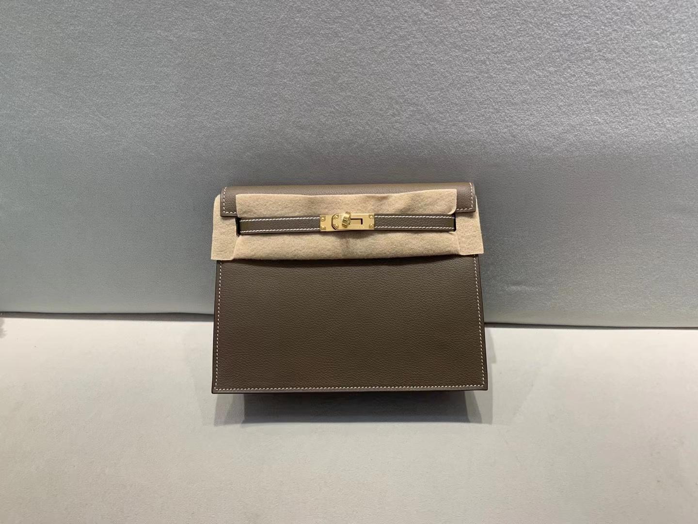 Hermès(爱马仕)Kelly dabce 跳舞包 evercolor ck87 大象灰 22cm 金扣 顶级品质 现货
