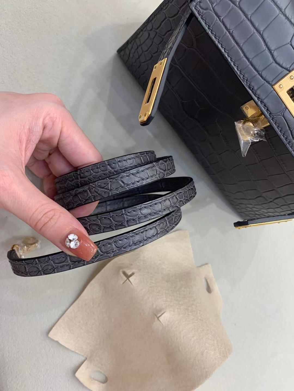 Hermès(爱马仕)mini Kelly 迷你凯莉 鳄鱼雾面方块 石墨灰 88 二代 金扣 顶级纯手工