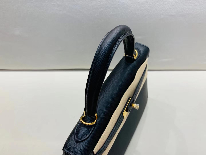 Hermès(爱马仕)Kelly 凯莉包 epsom 黑色 金扣 25cm 顶级纯手工 现货